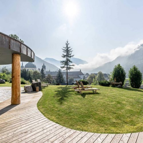 Spa area with mountain views